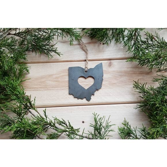 Ohio State Rustic Raw Steel Ornament