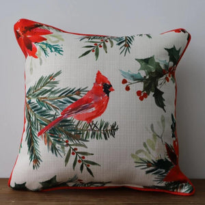 Poinsettia Pattern Cardinal Piped Edge Pillow