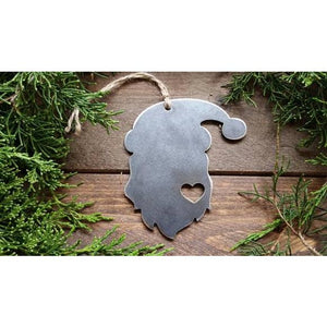 Santa Rustic Raw Steel Ornament