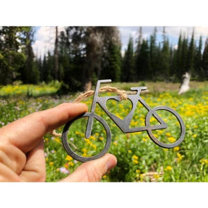 Bike Rustic Raw Steel Ornament