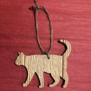 Wooden Cat Ornament