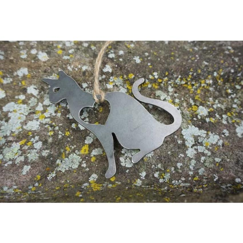 Cat Rustic Raw Steel Ornament