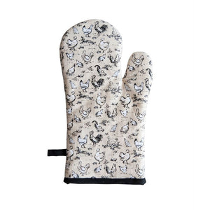 Cotton Hot Mitt w/ Chicken Toile Pattern