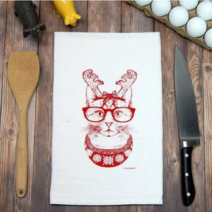 Hipster Christmas Cat Flour Sack Tea Towel