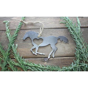 Horse Rustic Raw Steel Ornament