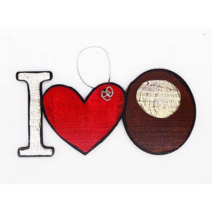 I Love Buckeyes Wooden Ornament