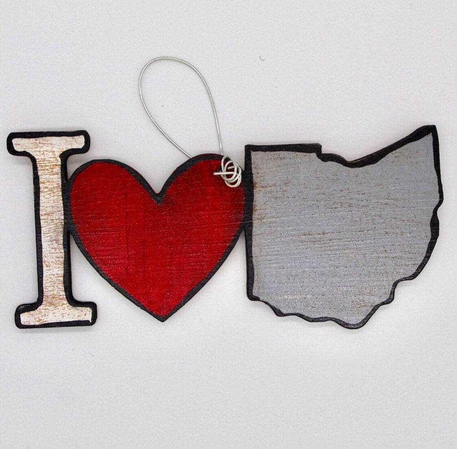 I Love Ohio Wooden Ornament