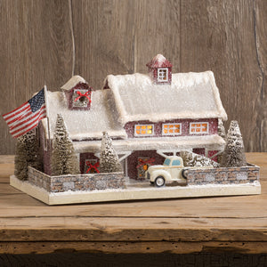 Red American Farmhouse Lighted House
