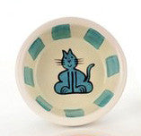 Pottery Cat Dish--Turquoise Stripes