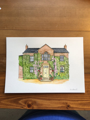 Hillsborough house watercolour painting for father's 60th birthday gift