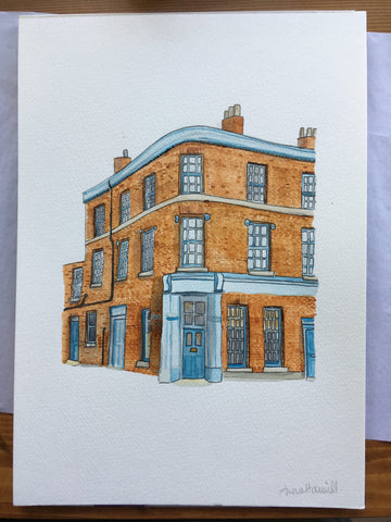 London flat watercolour painting commission for a personalised birthday gift
