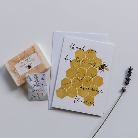 Bee themed thank you teacher gift and card