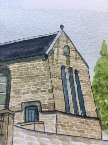 Up close detail of church watercolour commissioned art