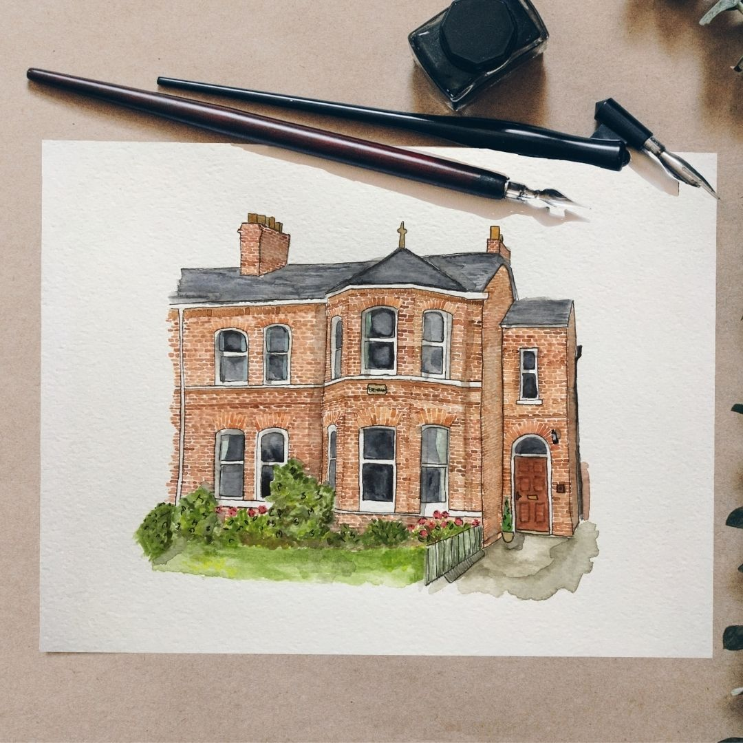 Image of a northern Irish red brick home in Watercolour. This house portrait is a commissioned piece of art by Anna Hamill of And Hope Designs