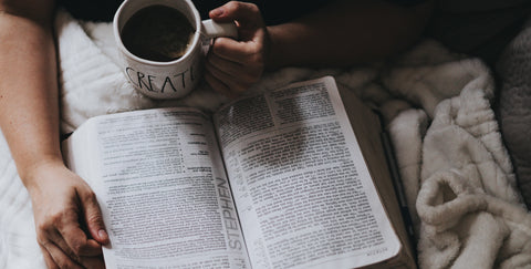 Reading the Bible in bed with a cup of tea