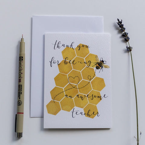 Thank you for bee-ing an awesome teacher card