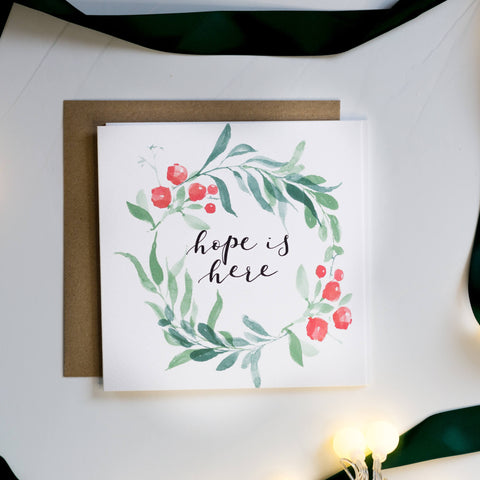 Hope is here christian Christmas card made in aid of tearfund