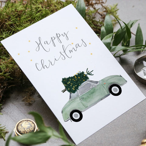 Nissan Figaro in mint green Christmas card