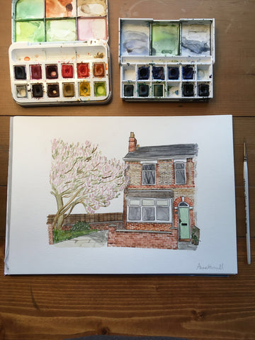 Personalised commission of a watercolour house painting with a magnolia tree in the garden