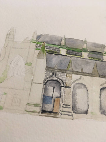 Some detail coming in to being with watercolour paints on this church painting