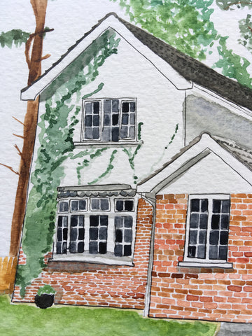 Up close detailed image of a watercolour portrait of a house in Northern Ireland