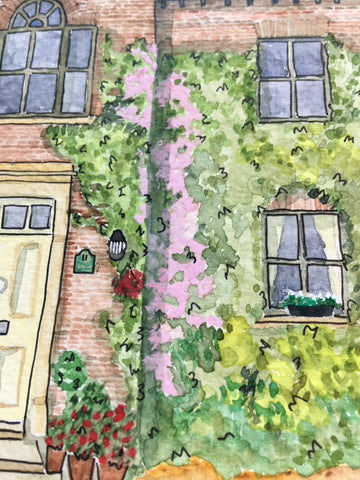 Up close detail image of a watercolour painting of a house in hillsborough, Northern Ireland