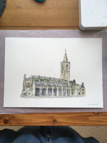 Finished watercolour painting commission of Saint Salvator'sChapel in St Andrews.
