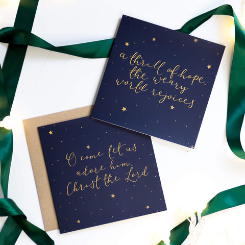 Set of two Christmas carol Christian cards with starry night background