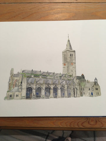 Saint salvator's chapel in St. Andrews watercolour painting