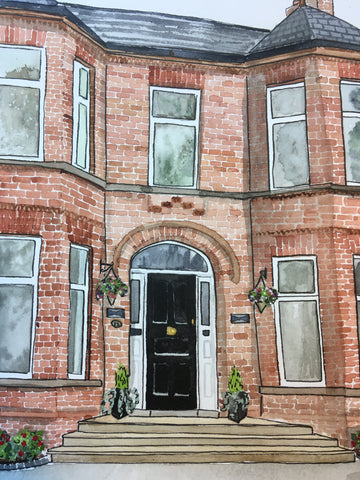 Watercolour painting of a brick house in knockdene park, Belfast