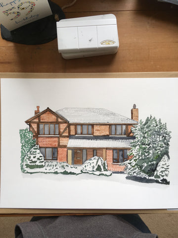 Snowy house painting - commissioned as a personalised birthday gift for mum