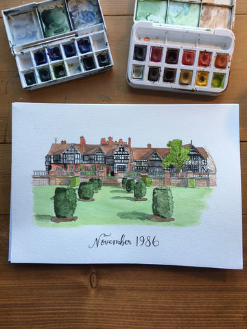 National trust property watercolour commissioned painting with personalised hand lettered date