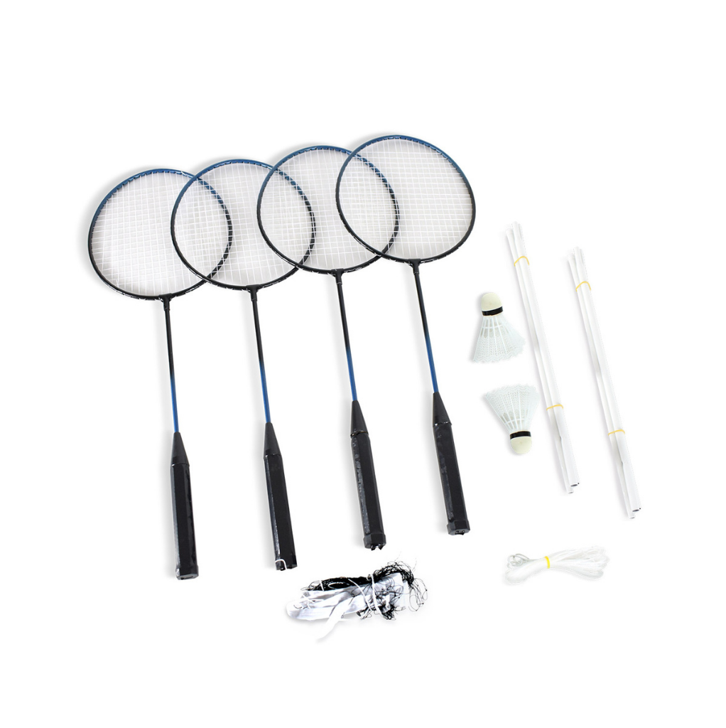 Set completo de Bádminton - Red, 4 Raquetas, 2 gallitos y postes