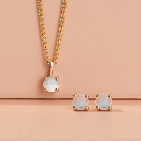 Birthstone collection: Moonstone earring and pendant set in 9ct yellow gold