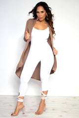 LONG SLEEVE OPEN FRONT DRAPED SOLID CASUAL MID LENGTH HIGH LOW CARDIGAN IN MOCHA
