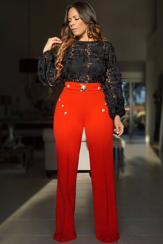 Zoey Lion Buckle High Waist Pants W/ Gold Button Details - Red