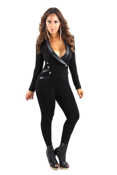 Black Long Sleeve Tuxedo Collar Sexy Jumpsuit - MY SEXY STYLES  - 1