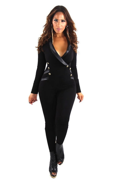 Black Long Sleeve Tuxedo Collar Sexy Jumpsuit - MY SEXY STYLES  - 2