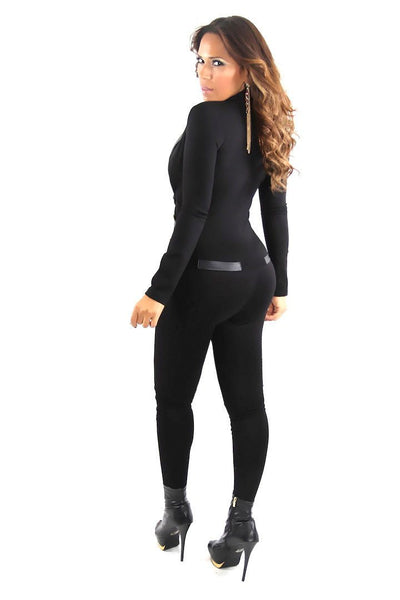 Black Long Sleeve Tuxedo Collar Sexy Jumpsuit - MY SEXY STYLES  - 4