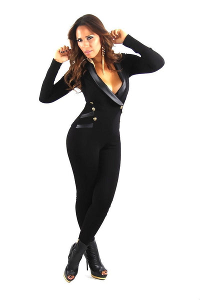 Black Long Sleeve Tuxedo Collar Sexy Jumpsuit - MY SEXY STYLES  - 3