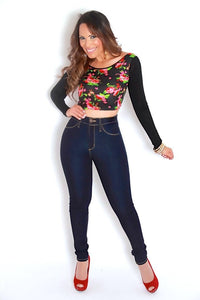 Black Floral Print Long Sleeves Cropped Top - MY SEXY STYLES