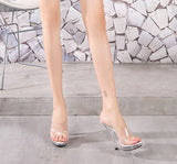 Crystale Sexy Mules Platform Clear High Heels