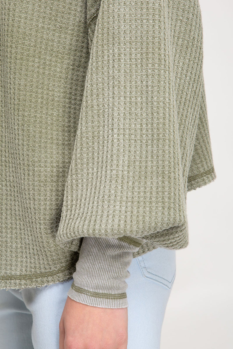 Andrea Bubble Sleeve Washed Waffle Knit Top