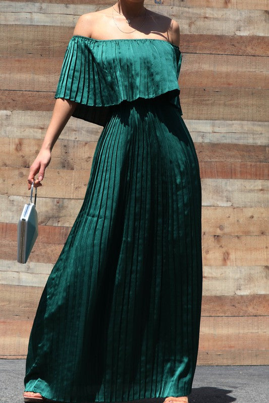 Chanel Pleated Satin Off Shoulder Maxi Dress