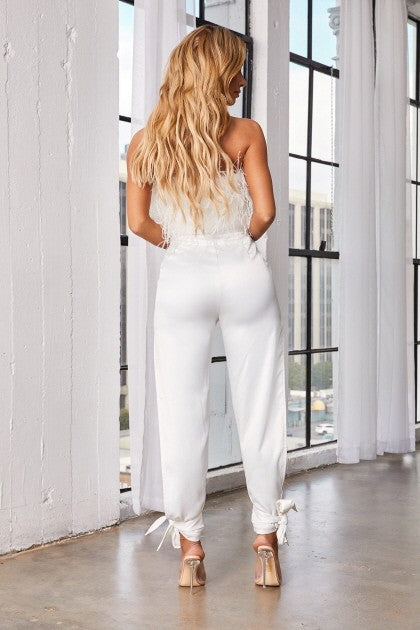 Feather Tube Top Pants Set