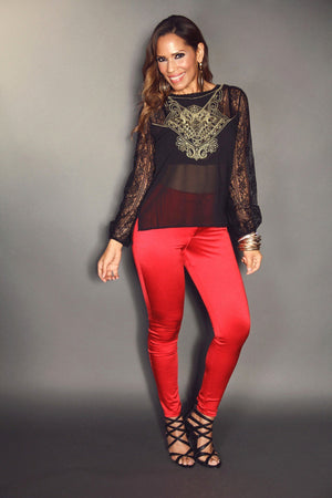 Black Mesh Accent Lace Long Sleeve With Gold Design & Back Button Closure Detail Sexy Blouse - MY SEXY STYLES