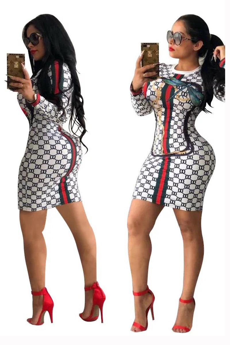 Adelina GG Print Long Sleeves Sexy Bodycon Dress | White