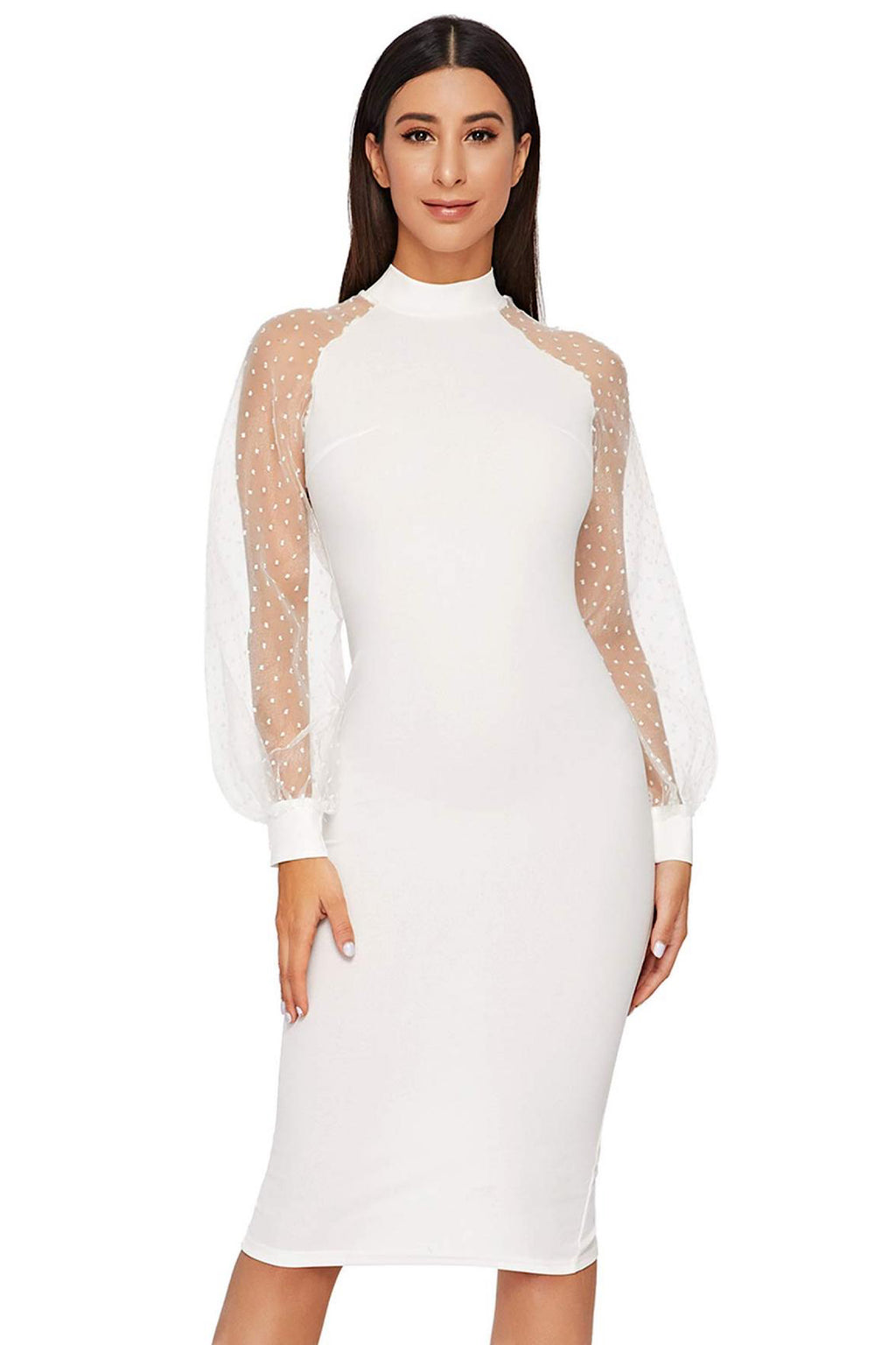 Bethany Mock Neck Mesh Long Sleeves Midi Dress in Off White