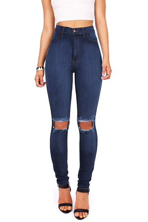 Butt Lifting Effect Knee Ripped Slimming High Waisted Stretch Skinny Jeans
