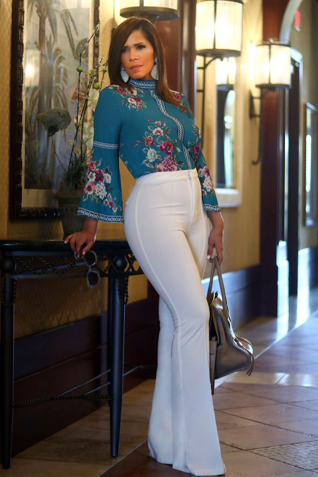 Laurenza Floral Print Bell Cuff Sleeve Blouse